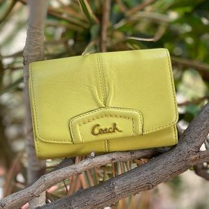 Coach Green/Yellow Leather Wallet